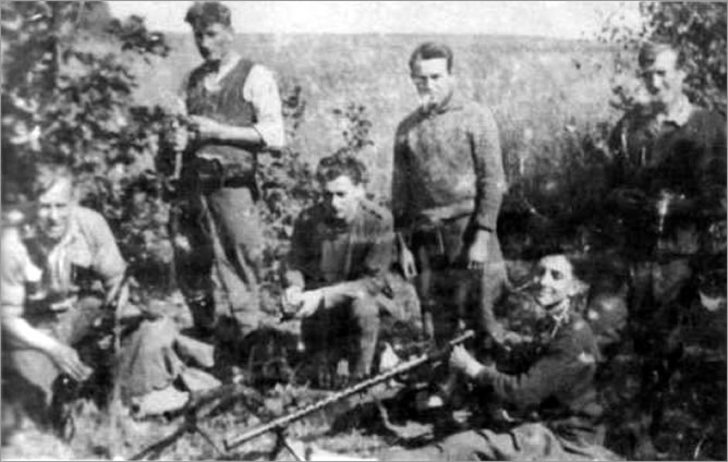 "Partisans from Stanisława Sekuła, nom de guerre ""Sokół"" unit. This picture was taken probably in 1945."