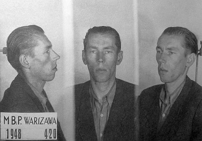"2nd Lt. Lucjan Minkiewicz ""Wiktor"".  Photo taken by Polish secret police, the UB."
