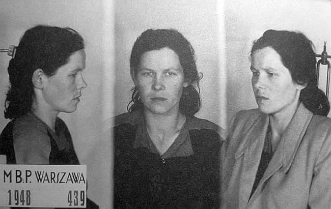 "Wanda Minkiewicz ""Danka"", Wiktor's wife.  Photo taken by Polish secret police, the UB, after her arrest in 1948."