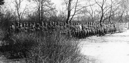Lucjan and Wladek's anticommunist resistance unit. Podlasie area in Poland in April 1946.