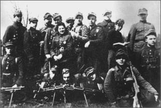 "he partisan unit of Sgt. Władysław Janczewski, ""Laluś"" near Wersocka in April 1945."
