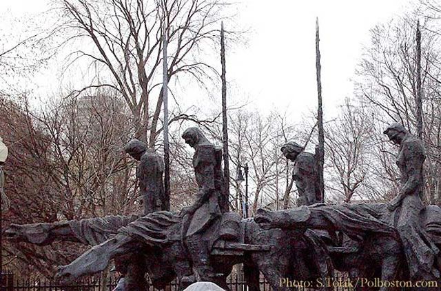 """The Partisans"" monument in Boston, US."