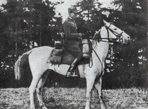 "Major Kalenkiewicz on his purebred mare ""Extra"" - 1938."