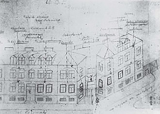 "A hand-drawn diagram of communist secret police PUBP office/ jail in Radomsko prepared for the resistance by Urzad Bezpieczenstwa employee codename ""Ryba"" who collaborated with ""Burat's"" KWP unit."
