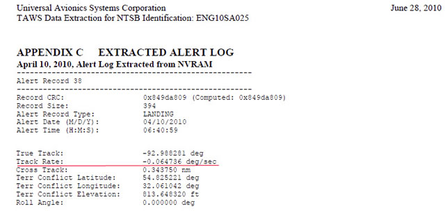 "Polish Plane Crash: TAWS Alert Log #38 (Alert Type ""Landing"")"