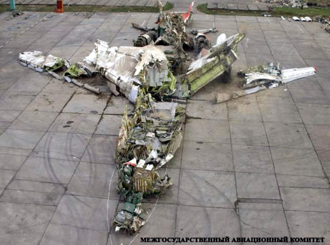 Polish TU-154 wreckage exposed to elements.