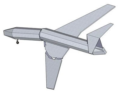 The rear part of the airframe with wings and vertical stabilizer rolls to the left independently of the front part which stays in its natural position