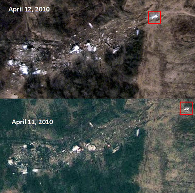 The Tupoleve's left horizontal stabilizer position on satellite pictures - April 11, 2010, and April 12, 2010.