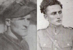 "From Left are: Lieutenant Stanisław Łukasik, nom de guerre ""Ryś"" and Lieutenant Roman Groński, nom de guerre ""Żbik"", both soldiers in Maj. ""Zapora's"" unit. They were murdered at the Mokotow prison on March 7, 1949 along with their collegues: Lt. Jerzy Miatkowski, nom de guerre ""Zawada"", Lt. Edmund Tudruj, nom de guerre ""Mundek"", Lt. Tadeusz Pelak, nom de guerre ""Junak"", Lt. Arkadiusz Wasilewski, nom de guerre ""Biały"""